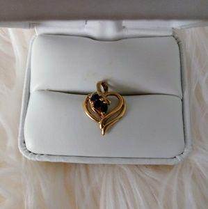 Vintage 925 gold plated genuine sapphire pendant